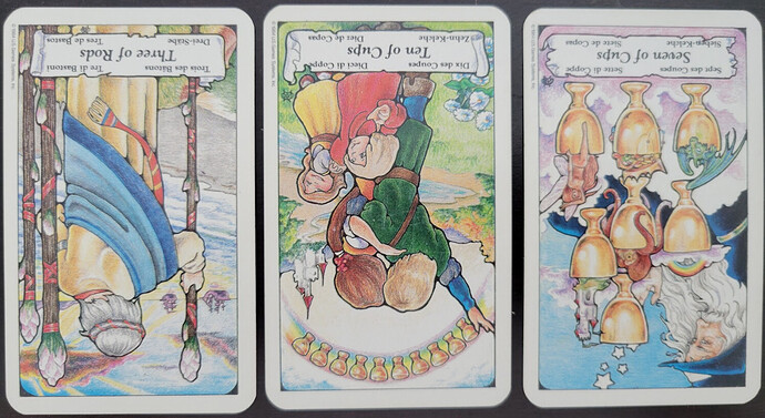 Three cards lay on a black surface. From left to right is the Three of Rods reversed, the Ten of Cups reversed, and the Seven of Cups reversed. image