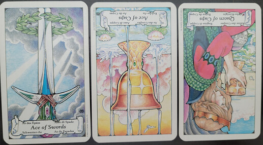 Three cards lay on a black surface. From left to right is Ace of Swords, Ace of Cups Reversed, and Queen of Cups Reversed. image