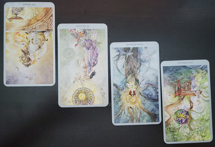 Four tarot cards lay on a black surface. From left to right, the cards are as follows: Strength Reversed, The Lovers Reversed, The Queen of Pentacles Reversed, and the Nine of Pentacles Reversed. The cards are from the Shadowscapes deck and are whimsical and ethereal in nature. Strength reversed shows a lion and woman in white. The Lovers reversed depicts two fairies intertwined in a romantic embrace. The Queen of Pentacles reversed depicts a forest nymph in her tree with a large bring star over her head. The Nine of Pentacles depicts a young woman dressed in white playing a piano while a tree grows out of the top of it. image