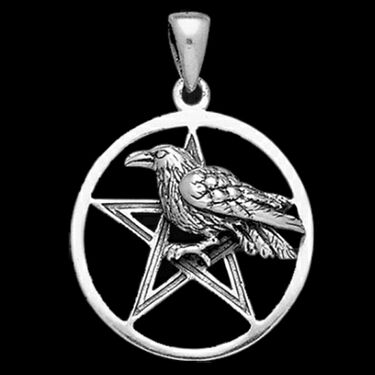 RAVEN-PENTAGRAM-PENTACLE-PENDANT-Sterling-Silver-Wicca-Pagan-Crow-BY-PETER-STONE-142812443482