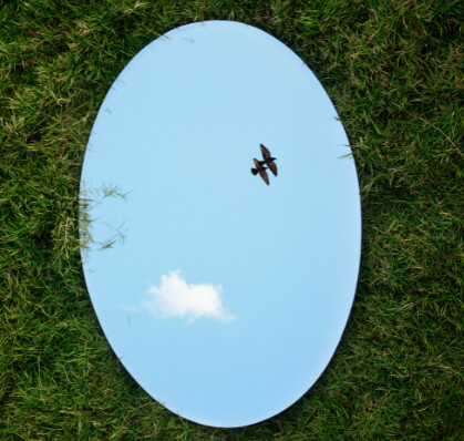 A large oval mirror lays on green grass. The blue sky and clouds are reflected in the mirror with two birds.|image