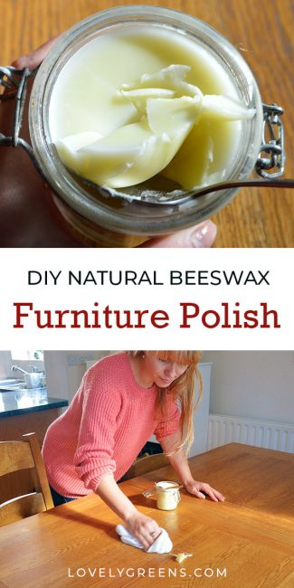 How to make simple and natural beeswax furniture polish using just 2 ingredients. It's easy to make and is a great addition to a natural and zero-waste home. It also smells of sweet honey and is easily massaged into wooden furniture, ornaments, and kitchenware #lovelygreens #naturalhome #furniturepolish